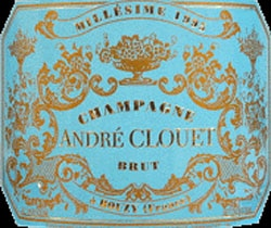 The 2002 André Clouet Millésimé Brut Champagne displays a flashy but elegant blue and gold design revealing a wine equally rich in flavor