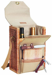Recalling rustic picnics of yore, this smart wine basket is a portable party!