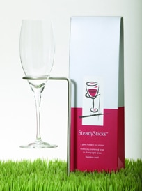 SteadySticks keep wine glasses steady on grass