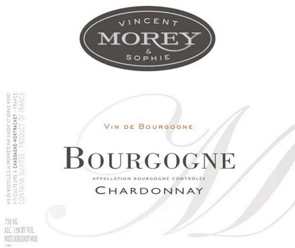 Vincent et Sophie Morey 2012 Bourgogne Blanc is a Chardonnay sourced from four different vineyards