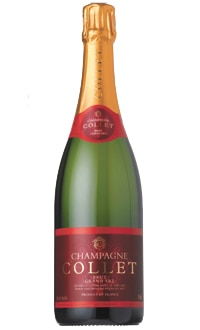 Champagne Collet Brut Grand Art features honey and mineral flavors