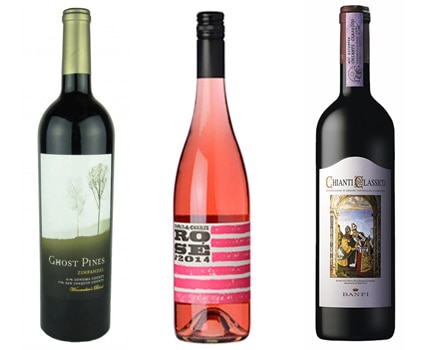 Ghost Pines 2013 Zinfandel; Charles and Charles 2014 Rose; Banfi Toscana 2013 Chianti Classico
