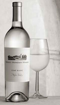 An elegant black and white photo of the Robert Mondavi Winery 2008 Napa Valley Fume Blanc, one of our Top 10 Mother's Day Wines