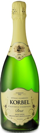 Korbel's Organic Brut is a fine sparkling wine available for an excellent price