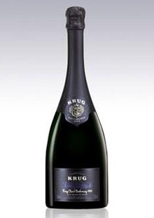 A bottle of Champagne Krug 1996 Clos d'Ambonnay