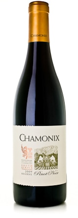 A bottle of Chamonix 2009 Reserve Pinot Noir from South Africa