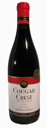 A bottle of Cougar Crest 2005 Grown Reserve Syrah