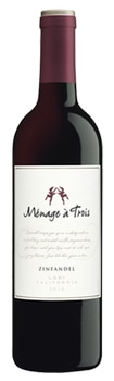 Menage a Trois 2012 Zinfandel displays rich blackberry and vanilla flavors