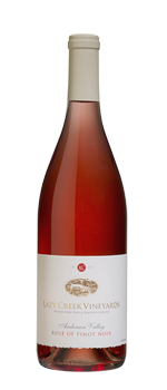Lazy Creek Vineyards 2015 Rosé of Pinot Noir has notes of strawberry and grapefruit