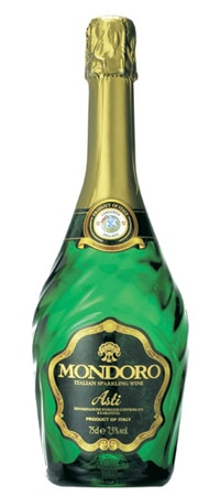 Mondoro Sparkling Asti is produced from muscat grapes in Northern Italy