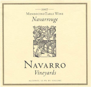 Navarro Vineyards 2007 Navarrouge red table wine, one of our Top 10 Summer Wines