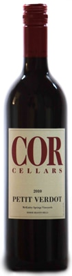 Cor Cellars 2010 Petit Verdot is an inky-colored wine