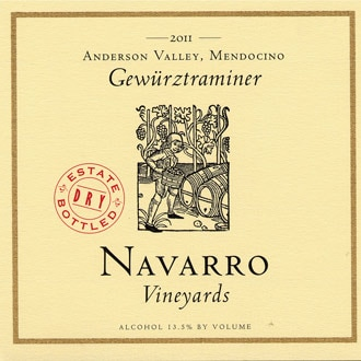 Navarro Vineyards 2011 Dry Gewurztraminer offers bright citrus flavors and a dry finish