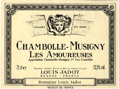 A bottle of Louis Jadot 2008 Chambolle-Musigny Premier Cru Les Amoureuses from Burgundy, France