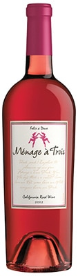 The Ménage à Trois 2012 Rosé is a blend of Merlot, Syrah and Gewurztraminer