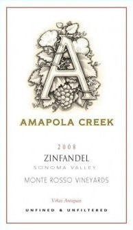 Amapola Creek 2008 Zinfandel, Monte Rosso Vineyard, one of our Top Value Wines