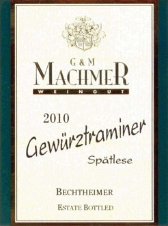 Weingut Machmer 2010 Bechtheimer Gewurztraminer Spatlese, one of our Top Wines Under $20