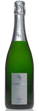 A bottle of Torre Oria Cava Brut sparkling wine
