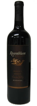 A bottle of Rosenblum Cellars 2008 Maggie's Reserve Zinfandel , our wine of the week