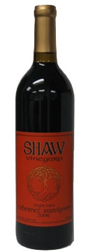 A bottle of Shaw Vineyard 2006 Cabernet Sauvignon, our wine of the week