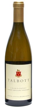 A bottle of Talbott Vineyards 2008 Sleepy Hollow Chardonnay, our wine of the week
