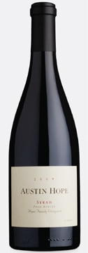 A bottle of Austin Hope 2009 Syrah, our wine of the week