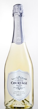 A bottle of Le Grande Courtage Grand Cuvee Blanc de Blancs Brut, our wine of the week