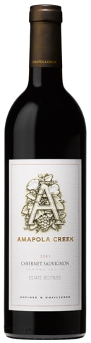 A bottle of Amapola Creek 2007 Cabernet Sauvignon, our wine of the week