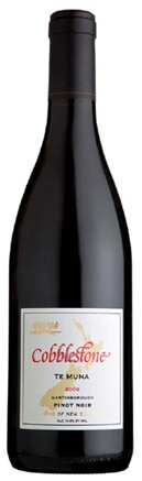 A bottle of Cobblestone 2009 Pinot Noir Te Muna, our wine of the week