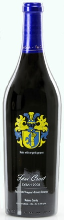 A bottle of Fasi Crest 2008 Syrah, our wine of the week