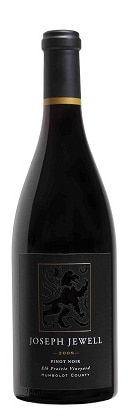 A bottle of Joseph Jewell 2009 Pinot Noir Elk Prairie Vineyard, our wine of the week