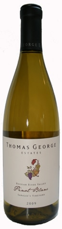 A bottle of Thomas George Estates 2009 Pinot Blanc Saralee's Vineyard, our wine of the week