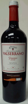 A bottle of Valserrano 2006 Graciano, our wine of the week