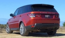 A three-quarter rear view of the 2014 Range Rover Sport V8 Supercharged