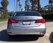A rear view of the 2016 Acura RLX Hybrid
