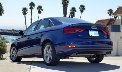 A three-quarter rear view of the 2015 Audi A3 2.0T