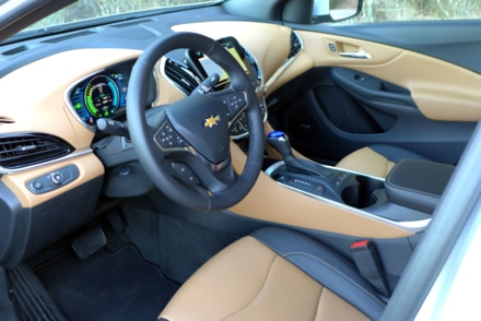 A look inside the jet black and brandy interior of the 2016 Chevrolet Volt Premier
