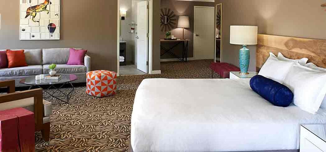 A guest room at Amara Resort & Spa, A Kimpton Hotel, in Sedona, Arizona