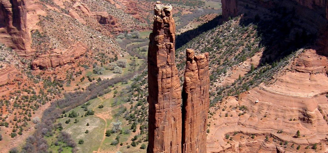 Spider Rock is the distictive feature at Canyon de Chelly National Monument in Arizona