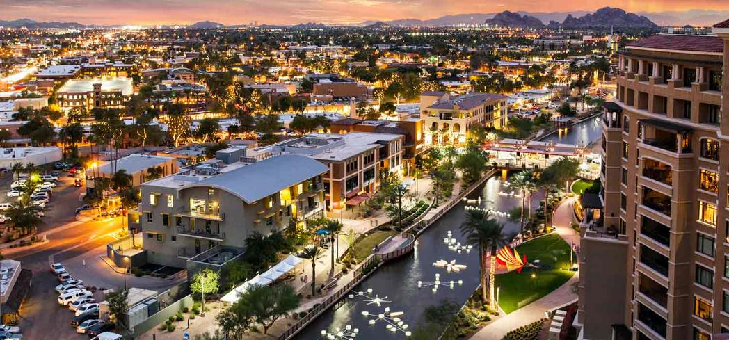 An aerial view of downtown Scottsdale, Arizona