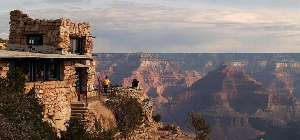 The Lookout Studio located on the south rim of the Grand Canyon in Arizona