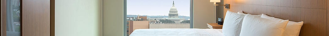 A guest room with a view of the U.S. Capitol at Hyatt Place Washington DC