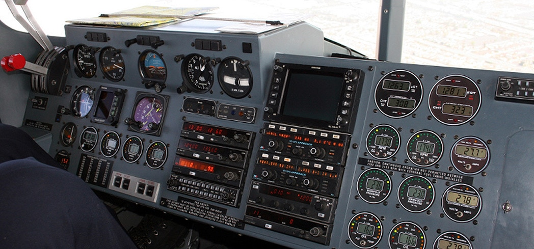 The instument panel aboard the Goodyear Blimp