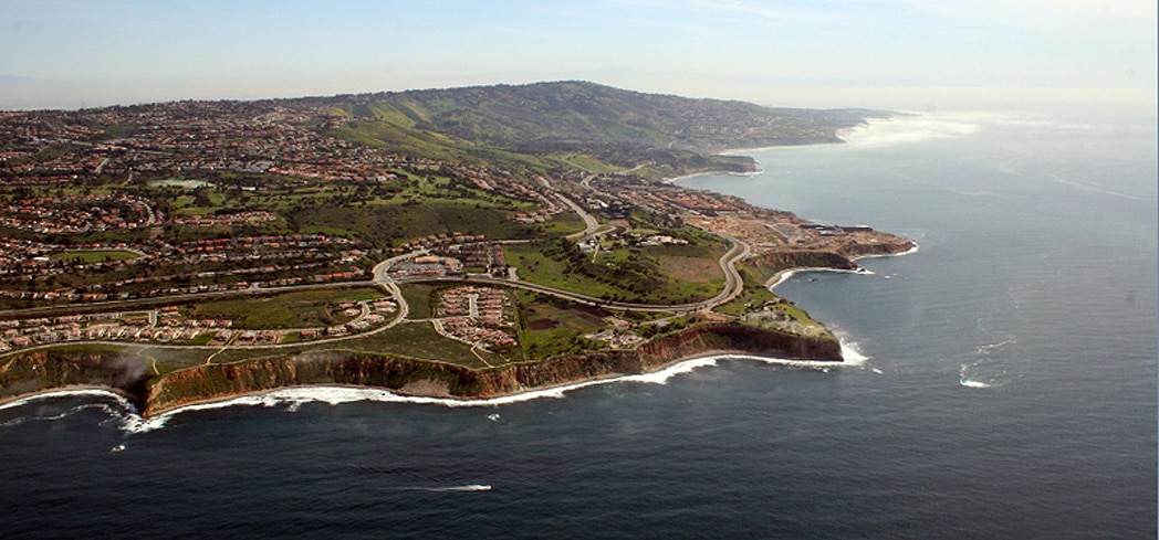 An aerial view of the SoCal coastline