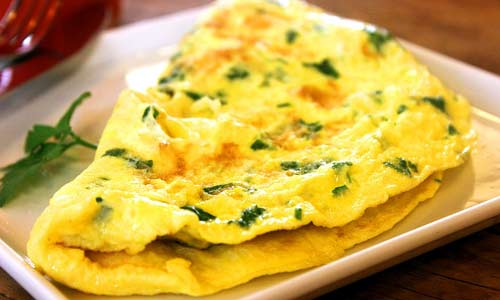 Hua paka, hua palai i ka'awili 'ia is the Hawaiian term for omelet