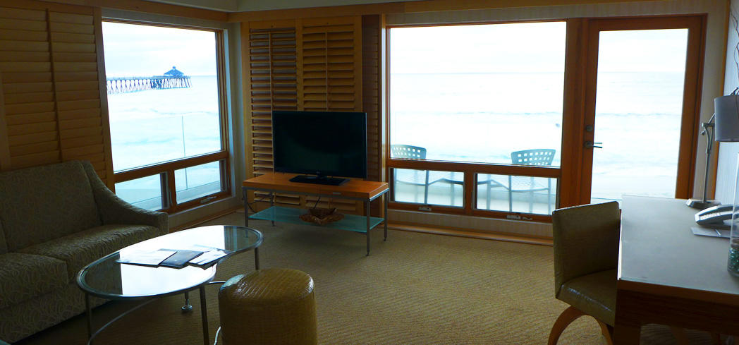 A guest room at Pier South Resort in Imperial Beach, California