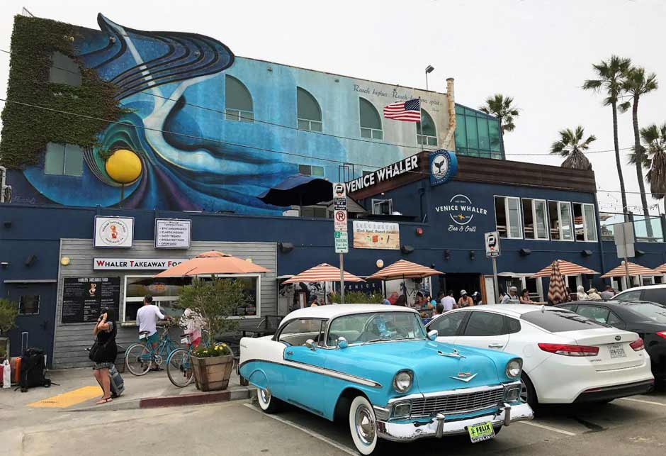 Outside Venice Whaler restaurant in Venice, CA