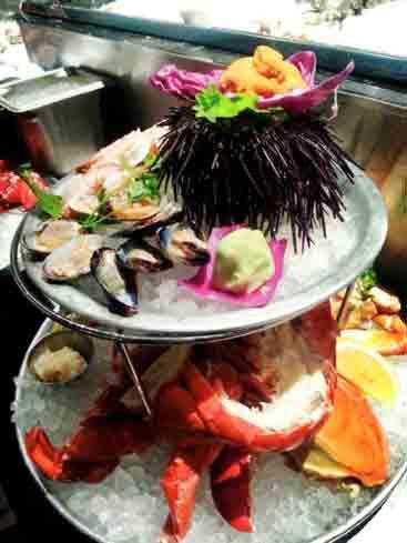 Seafood tower at EMC Seafood & Raw Bar