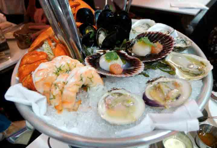 Seafood tower at Fishing With Dynamite in Manhattan Beach