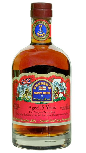 Pusser's Navy Rum Aged 15 Years imparts flavors of Brazil nuts, vanilla, oak and toffee